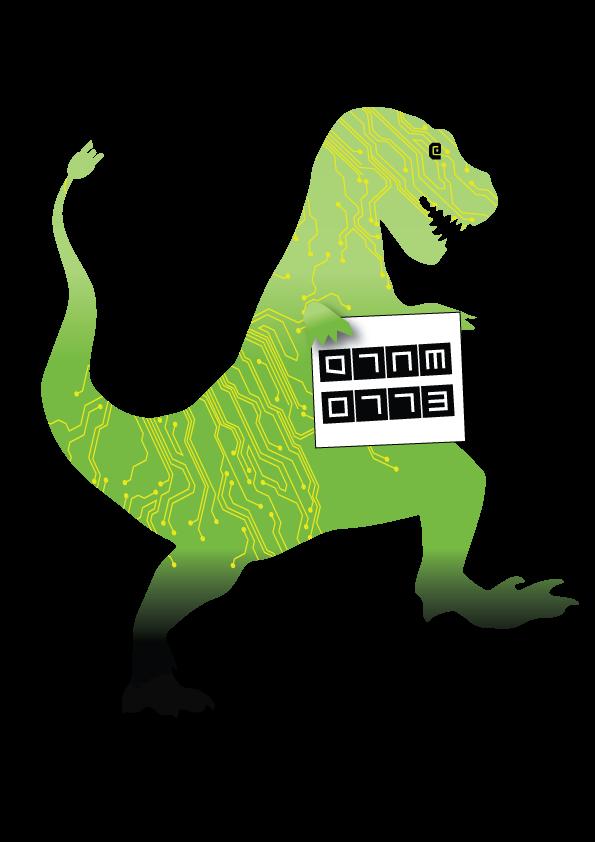 digital dinasaur stomping on australia