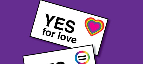 enrol to vote make your govenment uncomfertable, images of leeters with rainbow hearts and the words yes yes yeeesss